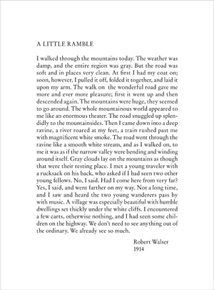 Robert Walser A Little Ramble